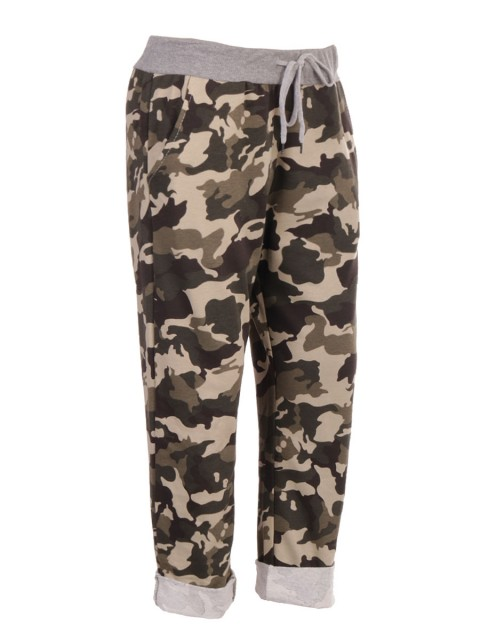 Italian Camouflage Print Cotton Trouser