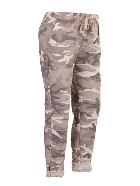 Italian Camouflage Print Trouser With Drawstring Waist Belt