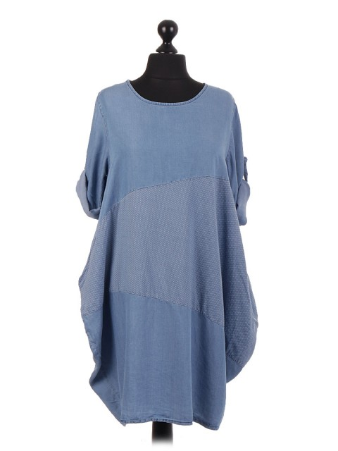 Italian Chambray Contrast Panel Dress With Side Pockets