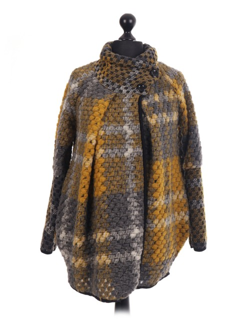 Italian Wool Mix Check Pattern Cocoon Coat