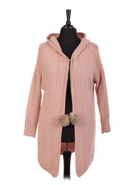 Italian Chunky Knit Hooded Cardigan With Pom Pom Fastening