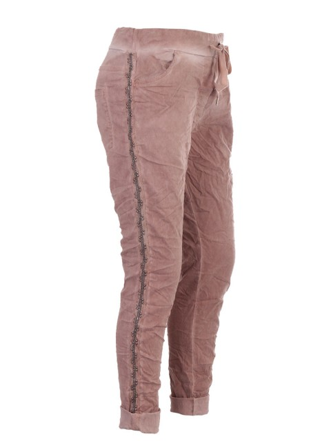 Italian Cold Dye Side Diamante Panel Trousers