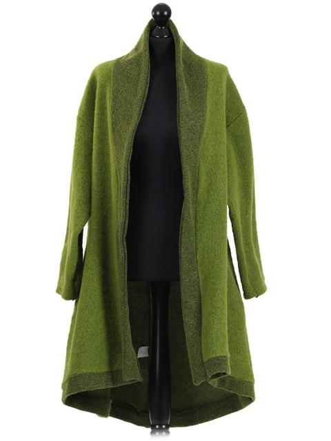 Italian Contrast Border Woolen Coat Lime