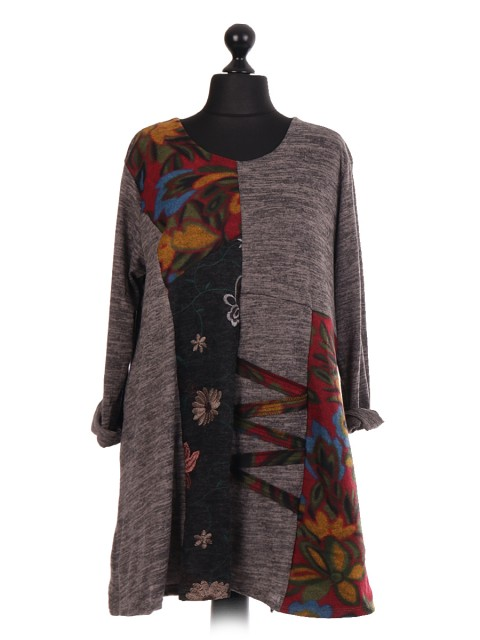 Italian Contrast Panel Embroidered Tunic Top