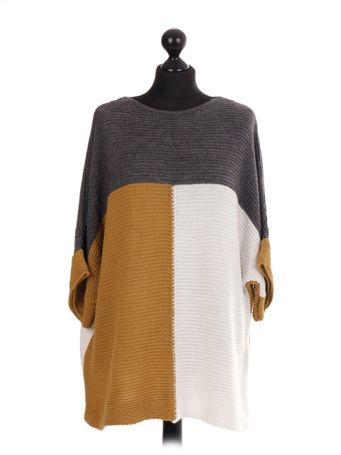 Italian Contrast Panel Knitted Batwing Jumper