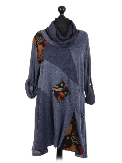 Italian Contrast Panel Tunic Dress With Scarf