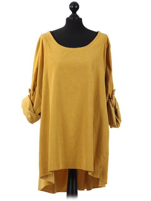 Italian Cotrise High Low Lagenlook Top Mustard