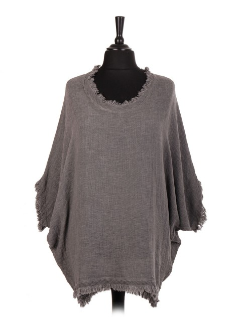Italian Cold Dye Cotton Batwing Dip Hem Top