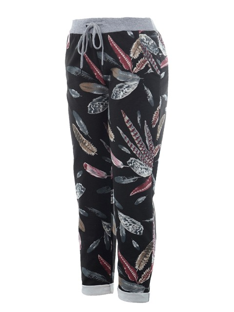 Italian Cotton Feather Print Summer Trouser