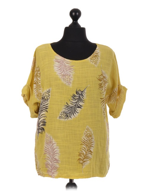 Italian Cotton Feather Print Top