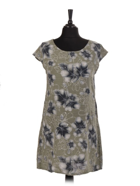 Italian Cotton Floral Print Top With Pockets