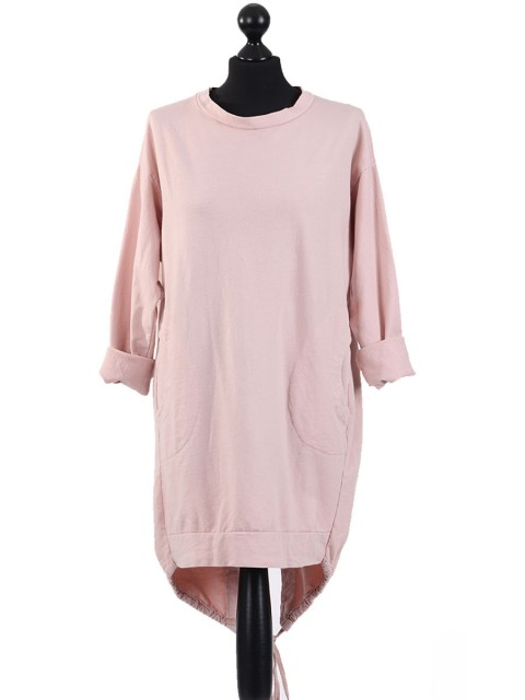 Italian Cotton High Low Knotted Hem Top-Pink