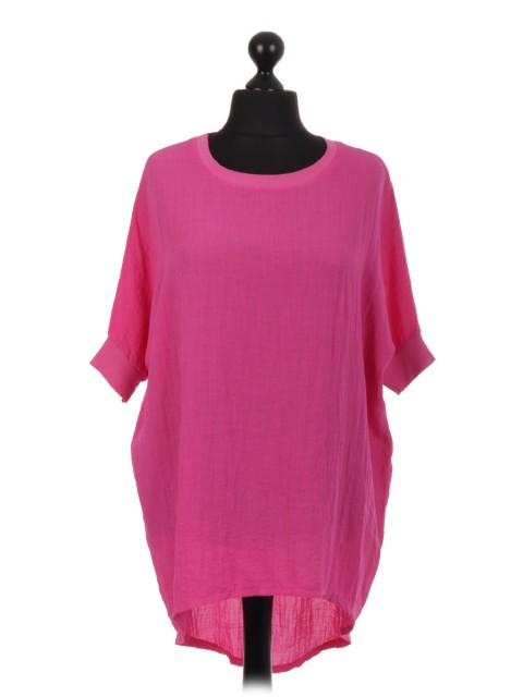 Italian Cotton High Low Lagenlook Top