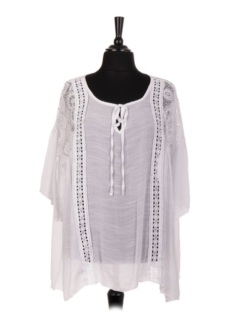 Italian Cotton Lace Panel Tie Neck Blouse
