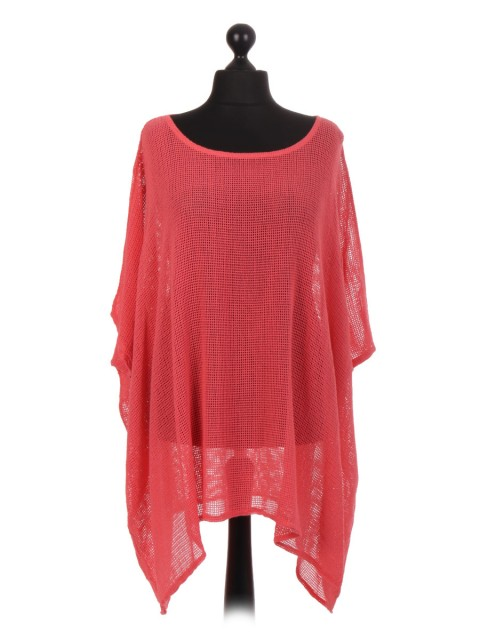 Italian Cotton Mesh Net Batwing Top