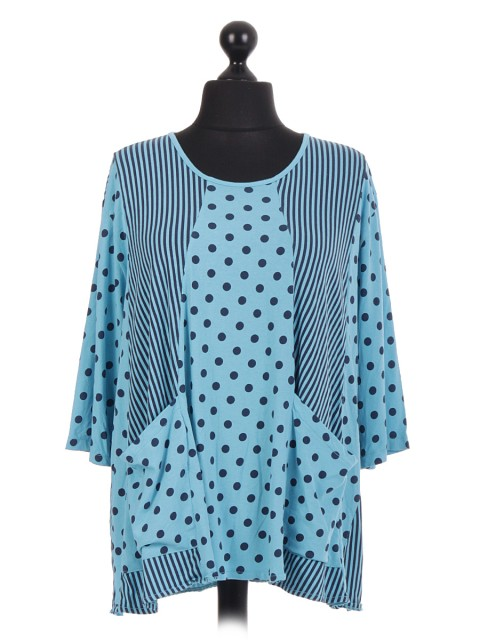 Italian Cotton Polk Dot Tunic Top