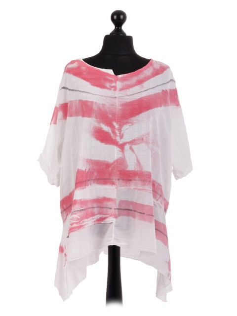 Italian Cotton Tie Dye Print Tunic Top