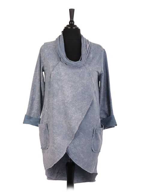 Italian Cowl Neck Acid Dye Wrap Over Dip Hem Top with Front Pockets