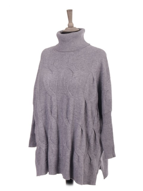 Italian Cowl Neck Cable Knit Batwing Jumper