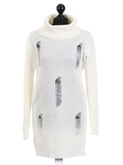 Italian Cowl Neck Long Jumper White