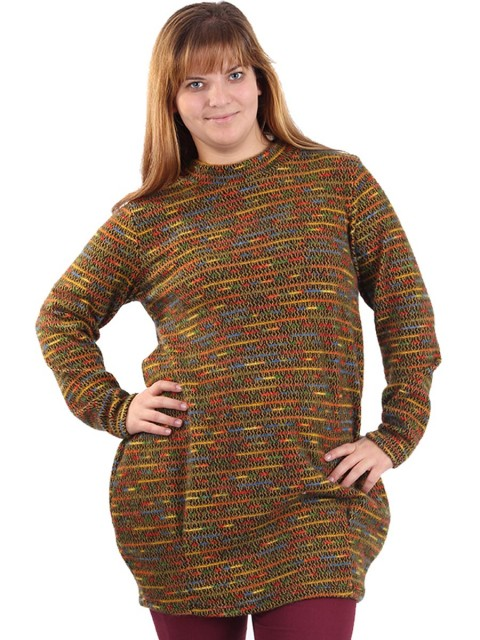 Italian Crew Neck Multicolor Winter Top Mustard