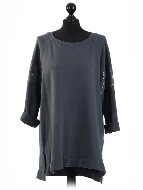 Italian Sequin Sleeves High Low Top-Charcoal