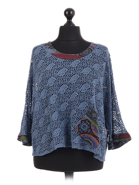 Italian Cut Out Lace Batwing Top