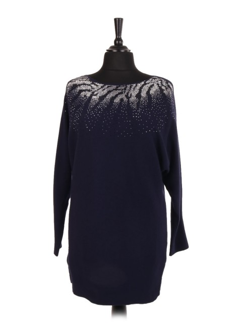 Italian Diamante Embellished Batwing Jumper