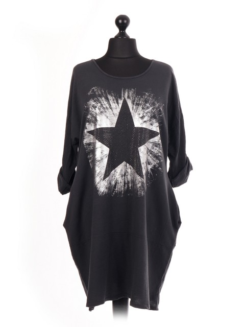 Italian Diamante Star Pattern Lagenlook Dress