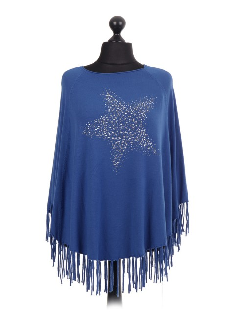 Italian Diamante Star Pattern Poncho With Frilled Hem