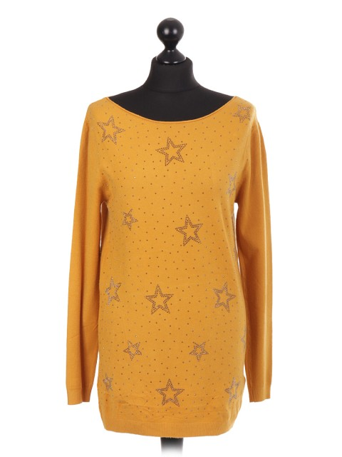 Italian Diamante Star Pattern Soft Knitted Jumper