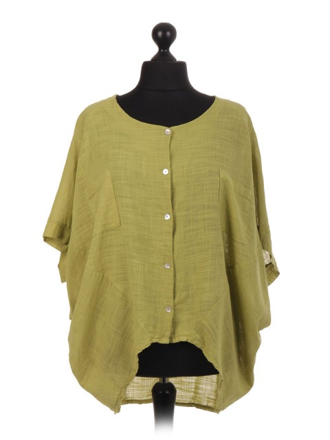 Italian Dip Hem Batwing Top With Front Pockets