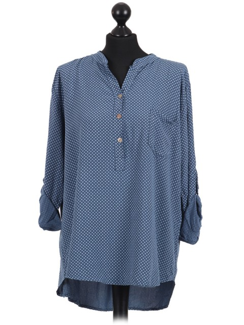 Italian Dot Print High Low Shirt Top Denim