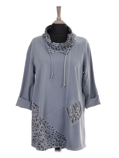 Italian Drawstring Cowl Neck and Drawstring Hem Top With Front Sequin Pocket