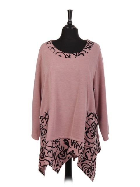 Italian Embossed Pattern Asymmetrical Hem Tunic Top