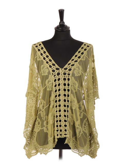 Italian Embroidered Net Kimono Cover Up Top