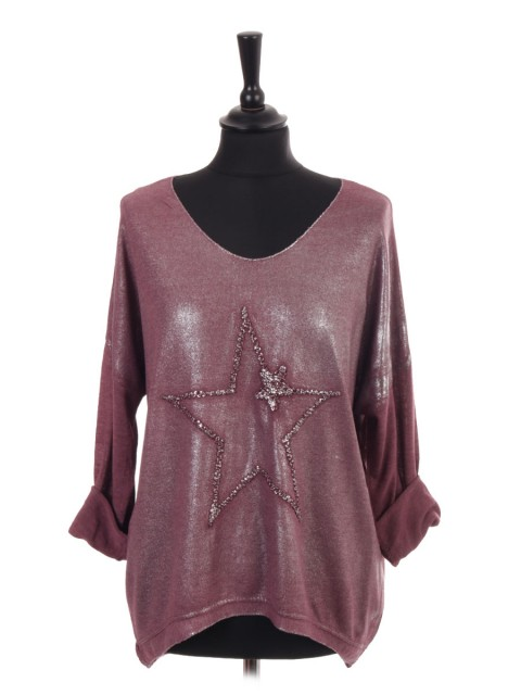 Italian Embroidered Star Shimmery Dip Hem Top