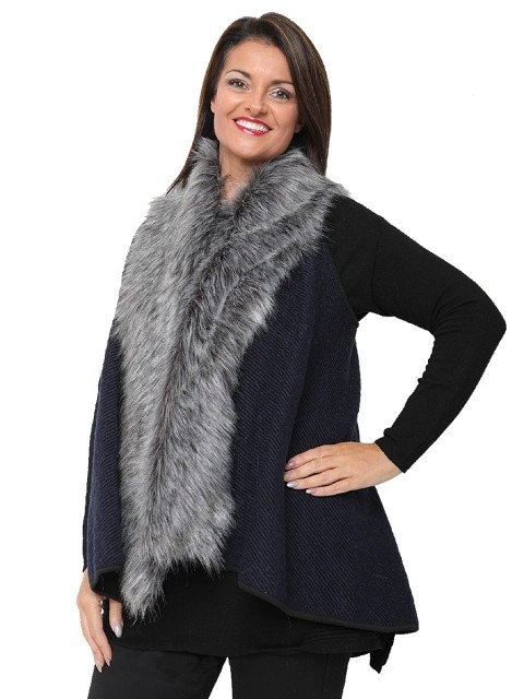 Italian Wool Faux Fur Panel Gilet