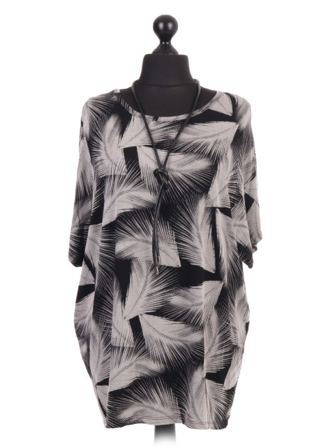 Italian Feather Print Batwing Top With Necklace