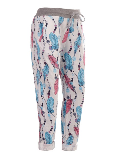 Italian Feather Print Cotton Trouser