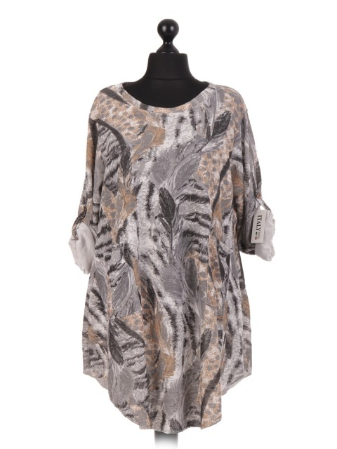 Italian Feather Print Dress