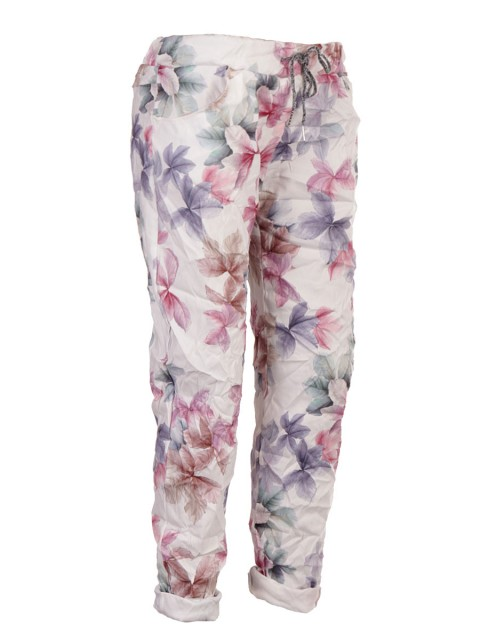Italian Leaf Print Stretchable Trouser