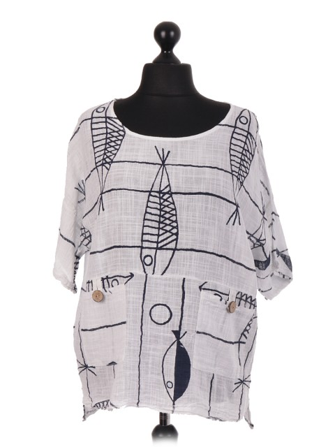 Italian Fish Print Top With Two Pockets