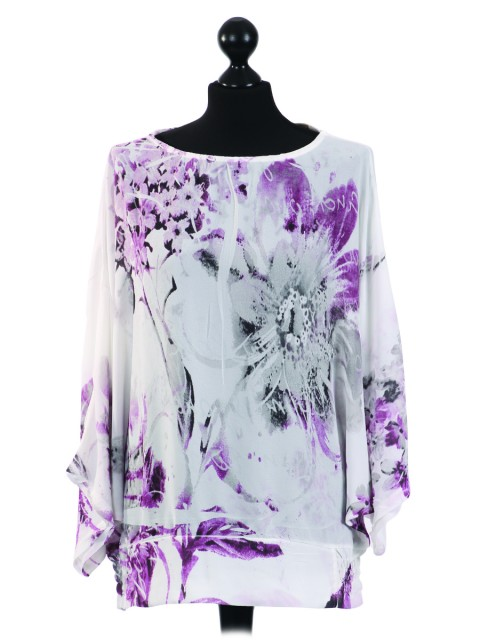 Italian Floral Batwing Sleeves Chiffon Tunic Top-Purple