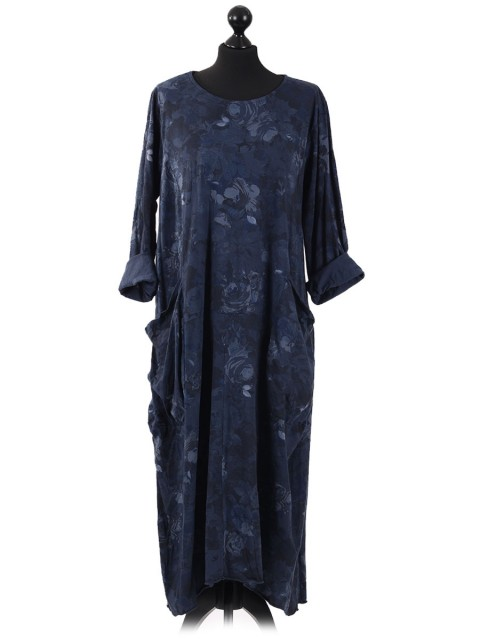 Italian Floral Long Lagenlook Dress navy