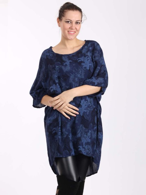 Italian Floral Print Batwing Sleeves Detail High Low Top-Navy