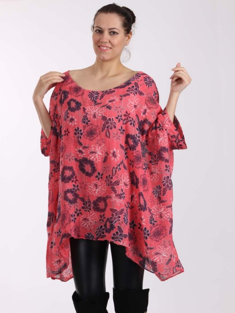 Italian Floral Print Batwing Sleeves Linen Tunic Top-Coral