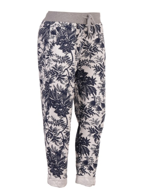 Italian Floral Print Cotton Joggers