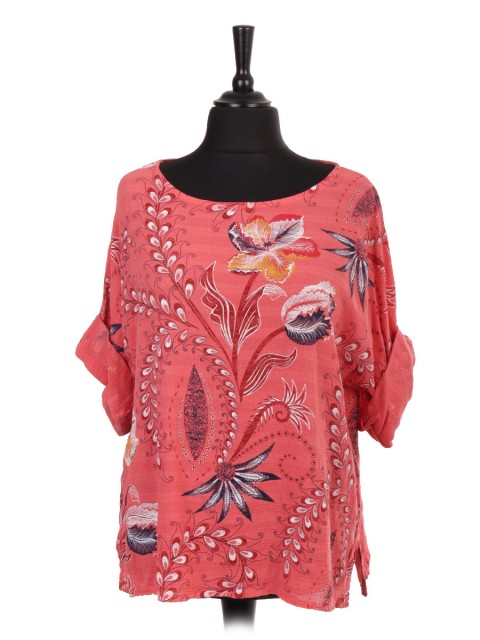 Italian Floral Print Cotton Top