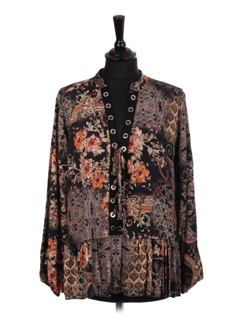 Italian Floral Print Frilled Blouse